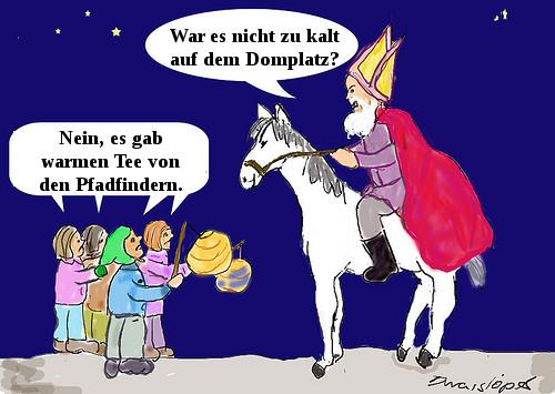 Sankt Martin auf dem Pferd und Kinder mit Laternen